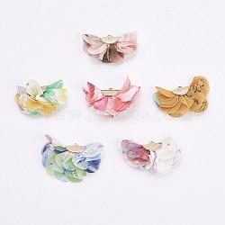 Украшения подвески из ткани, с железной фурнитурой, цветок, золотые, разноцветные, 22~28x36~40x12~15 мм, отверстие : 1 мм(X-FIND-P027-E)