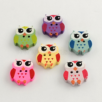 2-Hole Dyed Wooden Buttons, Owl, Mixed Color, 20.5x18x4mm, Hole: 1.5mm(X-BUTT-R030-33)