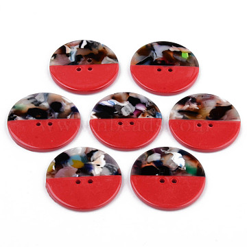 4-Hole Cellulose Acetate(Resin) Buttons, Flat Round, Red, 30x2.5mm, Hole: 1.8mm(BUTT-S026-002A-02)