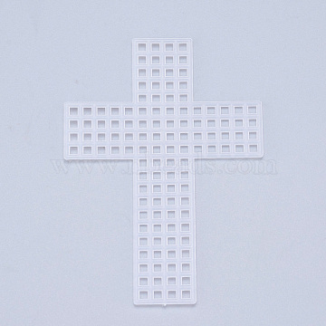 Plastic Mesh Canvas Sheets, for Embroidery, Acrylic Yarn Crafting, Knit and Crochet Projects, Cross, White, 7.7x5.5x0.15mm, Hole: 4x4mm(DIY-M007-15)