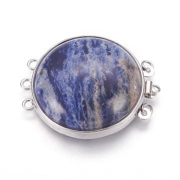 Natural Sodalite Box Clasps, Multi-Strand Clasps, with Platinum Tone Brass Findings, Flat Round, 3-Strands, 6-Holes, 39~40x31~32x8~11mm, Hole: 2mm(G-L473-G03)