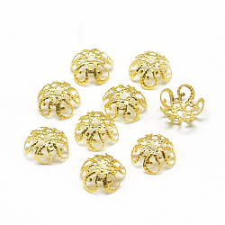 Plated Iron Bead Caps, Flower, 5-Petal, Filigree, Golden, 9.5x4.5mm, Hole: 1mm; about 142pcs/10g(X-IFIN-S696-20G)