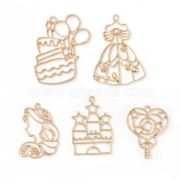 Golden Mixed Shapes Alloy Pendants