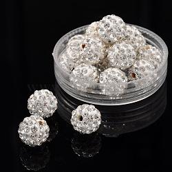 Perles de boule pavé disco , Perles de strass en argile polymère, rond, cristal, 10mm, Trou: 1.5mm(RB-A130-10mm-9)