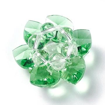 35mm Green Flower Glass Beads