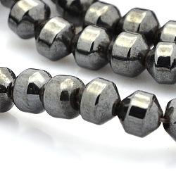 Магнитные гематит синтетические нити бисер, чёрные, 6x6 мм, Отверстие : 1 мм; около 64 шт / нитка(G-P061-26)