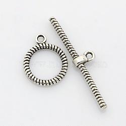 Fermoirs T en alliage de style tibétain, argent antique, anneau: 19x16x2 mm, Trou: 1.5mm, bar: 28x8x2 mm, Trou: 1.5mm(PALLOY-J471-23AS)