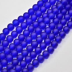 """Chapelets de perles en verre transparent, mat, rond, bleu, 14mm, trou: 1.3~1.6mm; environ 58 pcs/chapelet, 31.4""""(X-GLAA-S031-14mm-09)"""
