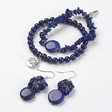 Lapis Lazuli Beads Wrap Bracelets and Earrings Jewelry Sets, with Tibetan Style Findings, and Brass Earring Hooks, with Burlap Packing Pouches Drawstring Bags, Blue, 2 inches~2-1/8 inches(52~54mm),  48mm, pin: 0.8mm(SJEW-JS00905-03)