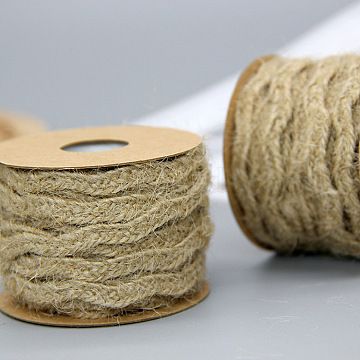 Jute Cord, Jute String, Jute Twine, for Jewelry Making, Tan, 6mm, about 5.46 yards(5m)/roll, 12rolls/box(OCOR-WH0016-01)