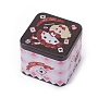 Tinplate Storage Box, Jewelry Box, for DIY Candles, Dry Storage, Spices, Tea, Candy, Party Favors, Square with Cartoon Pattern, Black, 7.5x7.5x6.5cm