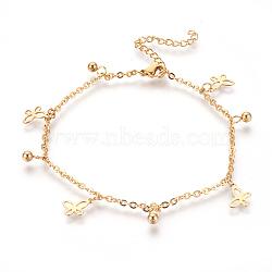 """Bracelets de cheville en 304 acier inoxydable avec pendentif, papillon et rond, or, 9-1/4"""" (23.5cm); 2mm(AJEW-O028-04G)"""