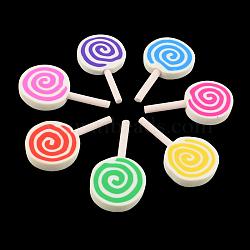 main en pate polymère cabochons, candy, couleur mélangée, 43~46x24~26x5~6 mm(X-CLAY-R059-M)
