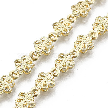 Brass Flower Link Chains, Long-Lasting Plated, Textured, Unwelded, Light Gold, 9x6x2mm(CHC-N018-062)