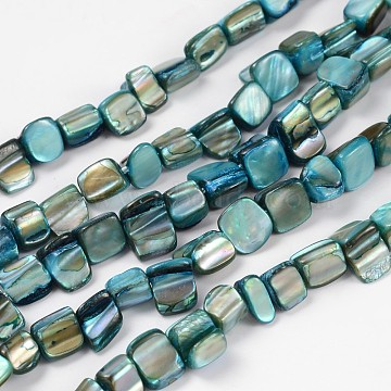Shell Beads Strands, Dyed, Cyan, about 8~17.5mm long, 5~8mm wide, 5mm thick, hole: 1mm, 16 inches/strand, 40pcs/strand(X-PBB051Y)