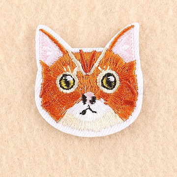 Computerized Embroidery Cloth Iron on/Sew on Patches, Costume Accessories, Appliques, Cat, Chocolate, 4x3.7cm(X-DIY-F030-16A)