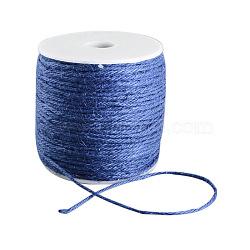 Cordon de chanvre coloré, chaîne de chanvre, ficelle de chanvre, 3 pli, pour la fabrication de bijoux, bleu royal, 2 mm; 100 m / rouleau(OCOR-R008-2mm-015)