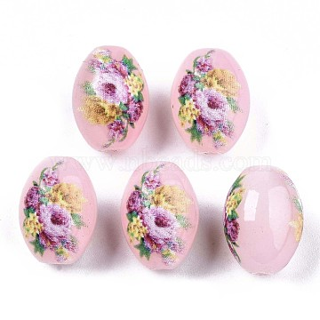 Printed & Spray Painted Imitation Jade Glass Beads, Oval with Floral Pattern, Pink, 13.5~15x10mm, Hole: 1.6mm(X-GLAA-S047-07C-D01)