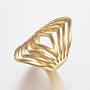 304 нержавеющей стали кольца перста широкополосного, полый, золотой, Размер 9, 19 mm
