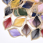 Cotton Thread Woven Pendants, with Alloy Findings, Leaf, Golden, Mixed Color, 43x26.5x2mm, Hole: 1.8mm