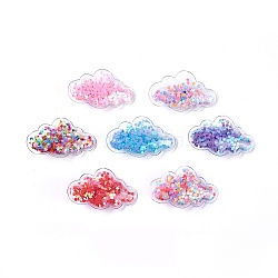 Plastic Alligator Hair Clips, with Paillette & Platinum Plated Iron Base, Cloud, Mixed Color, 38~38.5x64~65x13~14mm(PHAR-L005-I)