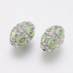 Perles d'émail en alliage, avec strass, ovale, platine, lightgreen, 16x11.5mm, Trou: 1.5mm(PALLOY-G230-43A)