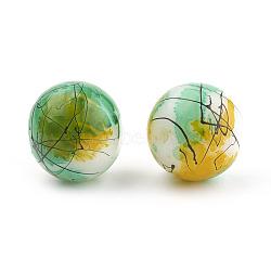 """Banc de tirage et cuisson de perles de verre peintes, rond, verte, 8mm, trou: 1mm; environ 106 pcs/chapelet, 31.4""""(X-GLAA-S177-02)"""