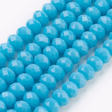 Glass Beads Strands, Imitation Jade Glass, Faceted, Rondelle, Cyan, 6x4~5mm, Hole: 0.8~1mm; about 88~92pcs/strand, 15.5 inches~16 inches(39~45cm)(X-GLAA-K027-05D)
