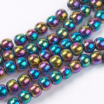1Strand Grade A Non-Magnetic Synthetic Hematite Beads Strands, Color Plated, Round, Colorful, 6mm, Hole: 1mm(X-G-S096-6mm-5)