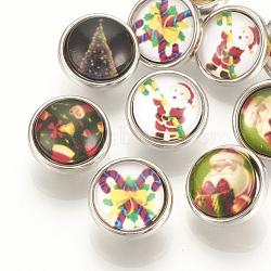 Boutons-pression de verre en laiton motif Noël, boutons de bijoux, plat rond, platine, couleur mixte, 12x8 mm; bouton: 4.5 mm(SNAP-Q007-098P-M)