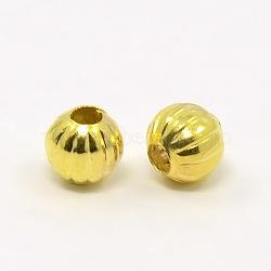 Perles ondulées en fer, rond, or, 6mm, Trou: 2mm(X-E185Y-G)