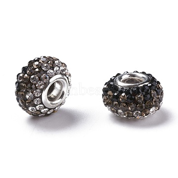 Two Tone Grade A Rhinestone Resin European Beads for Charm Bracelets, with Silver Plated Brass Double Cores, Rondelle, Camel, 15x10mm, Hole: 5mm(X-RPDL-RPDL-N007-12)