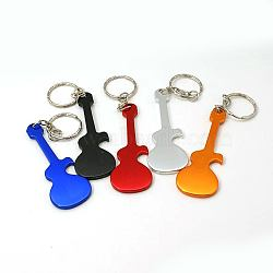 Aluminum Alloy Bottle Openners, with Iron Rings, Guitar, Mixed Color, 124mm(AJEW-G001-10)