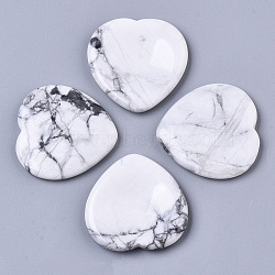 Natural Howlite Thumb Worry Stone, Pocket Palm Stones, for Healing Reiki Stress Relief, Heart Shape, 39~40x39~40x5~6mm(G-N0325-01I)
