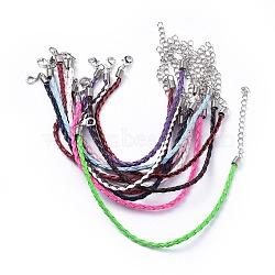 Création de bracelet tressé en imitation cuir à la mode, avec fer homard fermoirs pince et les chaînes de gamme, couleur mixte, 200x3mm(X-BJEW-S076-M)