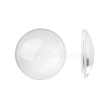 Transparent Glass Cabochons, Clear Dome Cabochon for Cameo Photo Pendant Jewelry Making, Clear, 25x6mm (X-GGLA-R026-25mm)