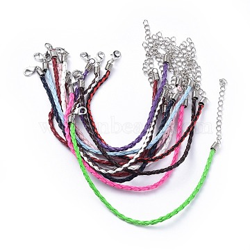 Trendy Braided Imitation Leather Bracelet Making, with Iron Lobster Claw Clasps and End Chains, Mixed Color, 200x3mm(X-BJEW-S076-M)