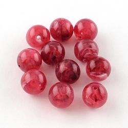 Perles rondes en acrylique d'imitation pierre précieuse, cerise, 8mm, Trou: 2mm(X-OACR-R029-8mm-09)
