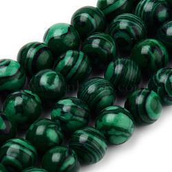 """Chapelets de perles en malachite synthétique, rond, 8~8.5mm, trou: 1mm; environ 47 pcs/chapelet, 15.5""""(G-Q462-57-8mm)"""