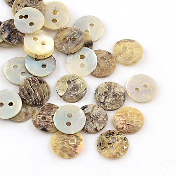 2-Hole Flat Round Sea Shell Buttons, Camel, 9x1~2mm, Hole: 1mm(SSHEL-Q295-03)