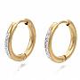 304 Stainless Steel Huggie Hoop Earrings, with Crystal Rhinestone, Ring, Golden, 17x2.5mm, Pin: 1mm
