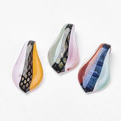 Gros pendentifs en verre dichroique manuels, feuille, couleur mixte, 60x34mm, Trou: 8mm(DICH-X040-M)