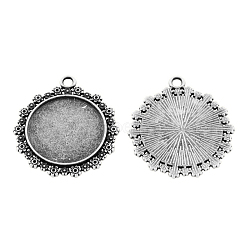 Tibetan Style Alloy Flat Round Pendant Cabochon Settings, Lead Free & Nickel Free, Antique Silver, 31x28x2mm, Hole: 2.5mm; Tray: 20mm