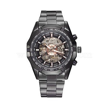 Alloy Watch Head Mechanical Watches, with Stainless Steel Watch Band, Gunmetal, 220x20mm; Watch Head: 54x51x15mm; Watch Face: 35mm(WACH-L044-04B)