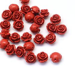 Flower Cinnabar Beads, FireBrick, 11~12x9mm, Hole: 1~2mm(X-CARL-Q003-07)
