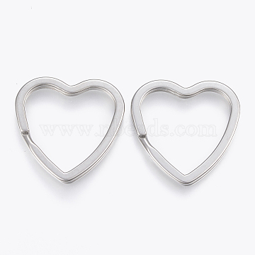 304 Stainless Steel Split Key Rings, Keychain Clasp Findings, Heart, Stainless Steel Color, 31x31x3mm, Inner Diameter: 25x23mm(X-STAS-P197-034P)