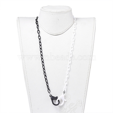 Personalized Two Tone ABS Plastic Cable Chain Necklaces(NJEW-JN02825-01)-4