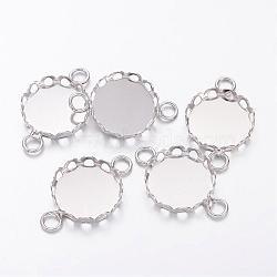 плоские круглые параметров соединителя латунь кабошон, кружева края ободок чашки, платина, лоток: 12 мм; 20x13x3 мм, отверстия: 2 mm(X-KK-I559-P)