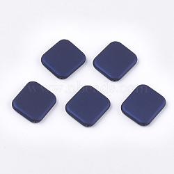perles acryliques de style caoutchoutées, rectangle, darkblue, 38x39x7 mm, trou: 1.8 mm(MACR-T026-20A)