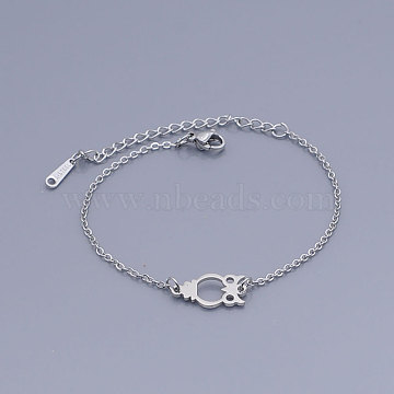 201 Stainless Steel Link Bracelets, with Lobster Claw Clasps, Owl, Stainless Steel Color, 6-5/8 inches(16.7~16.85cm)(BJEW-T011-JN478-1)